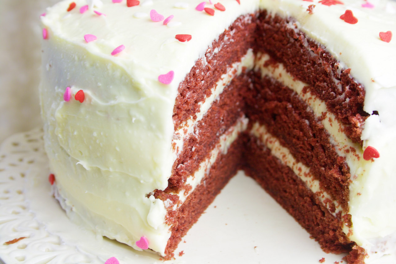 Peachy Red Velvet Cake Belleau Kitchen Funny Birthday Cards Online Kookostrdamsfinfo