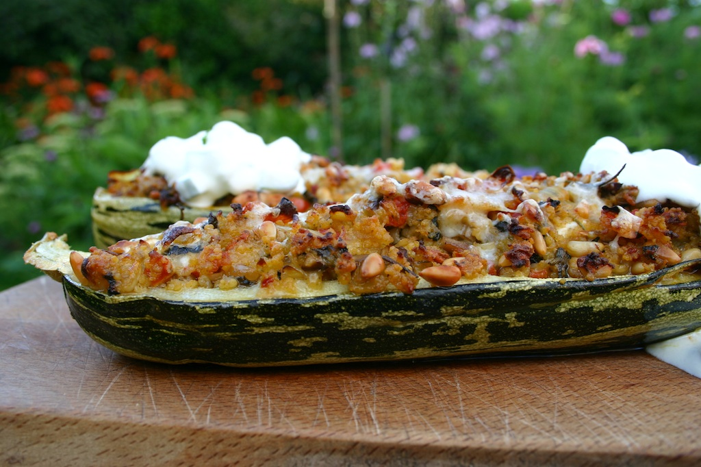 Stuffed Marrow With Fennel Pine Nuts And Capricorn Goats Cheese Served With Tzatziki Belleau