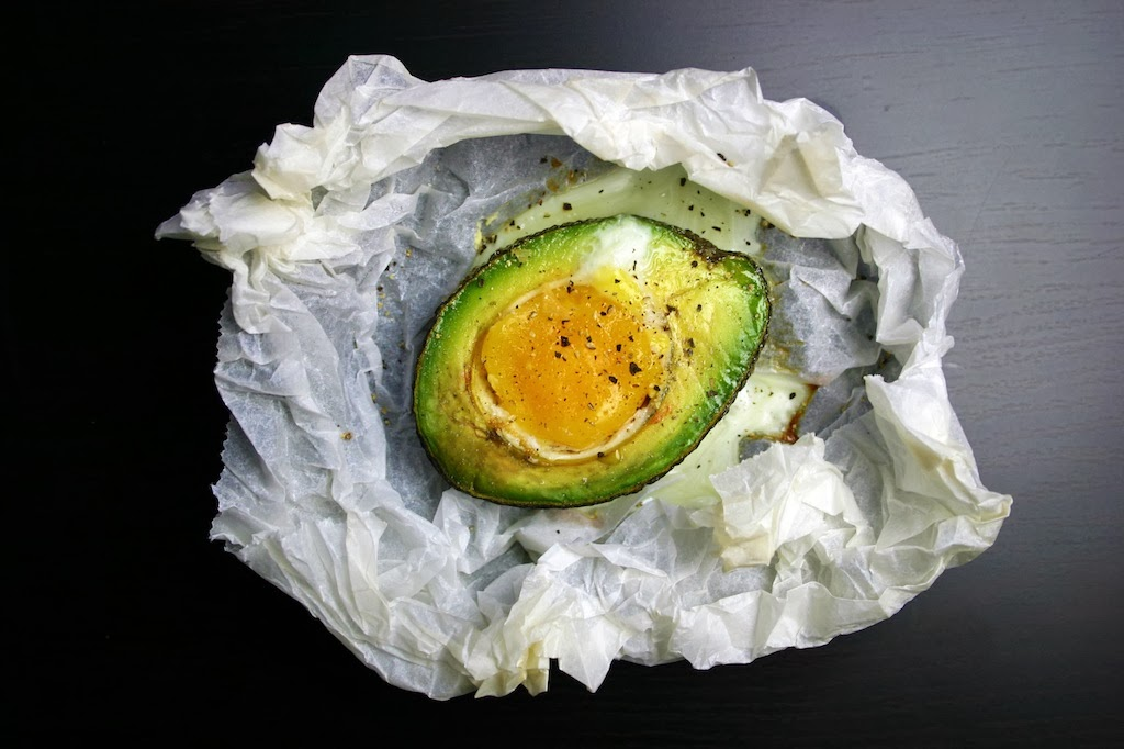 baked egg with avocado