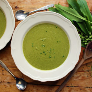 pea and wild garlic soup