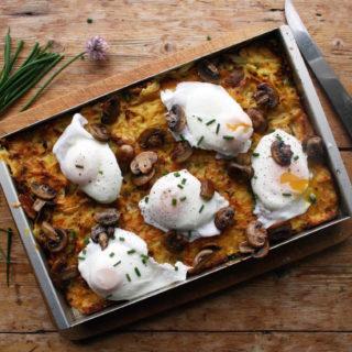 potato kugel with poached egg