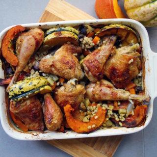pumpkin and chicken thigh risotto
