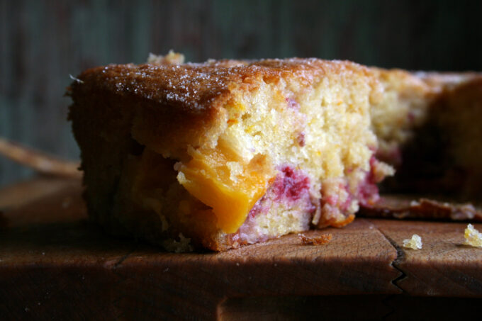 nectarine and raspberry cake