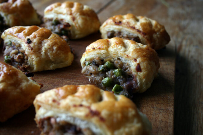 pea, pearl barley and stuffing sausage rolls
