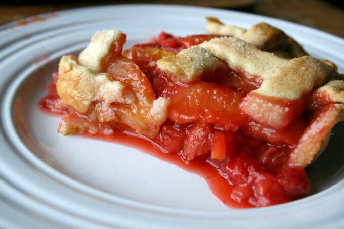 plum and strawberry lattice tart