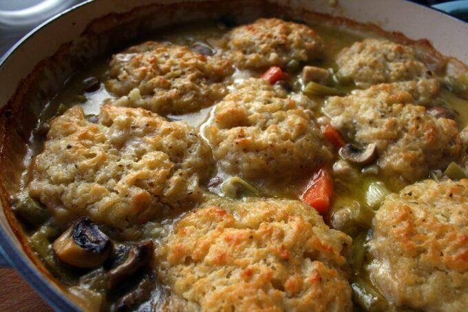 creamy vegetable stew with dumplings