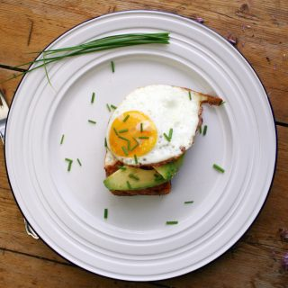 salmon with mint, avocado and a fried egg