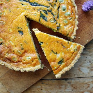 cashew red pesto and broad bean egg pie with poppyseed and lemon thyme crust