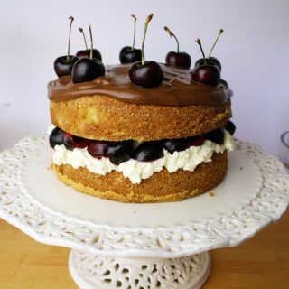 cherry brandy sponge cake with chocolate ganache and cherry brandy cream