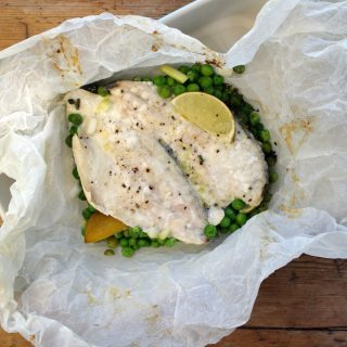 steamed sea bream with peas, lemon thyme and lime