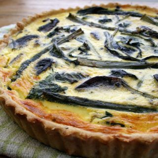 wild garlic and asparagus quiche with chive and cheddar pastry