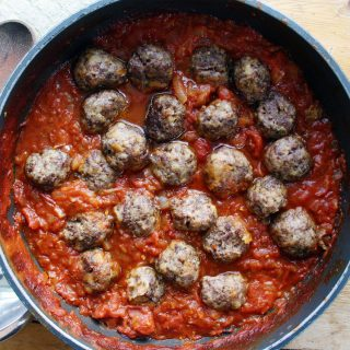 beef and venison meatballs with slow-cooked chilli tomato sauce