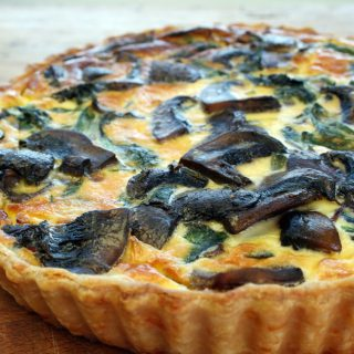 portobello mushroom and kale quiche with cheddar shortcrust