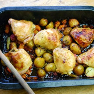 roast chicken thighs with chorizo