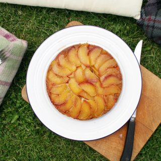 peach polenta upside-down cake