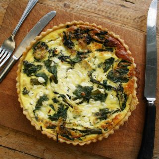 tenderstem broccoli, spinach and cottage cheese quiche