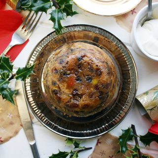 Christmas Pudding with Grand Marnier whipped cream