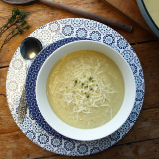 cauliflower, parsnip and gruyere soup
