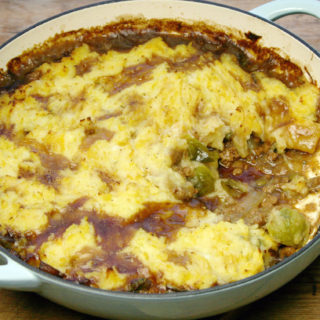 quorn mince and left-over veg shepherds pie