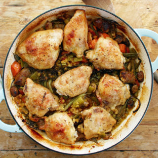 chicken thigh, sausage and red lentil one-pot roast