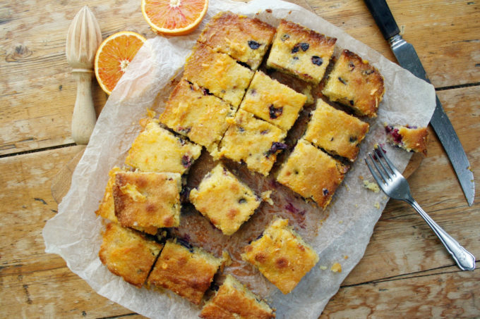 blood orange and blueberry almond polenta tray bake ...