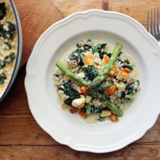 pearl barley risotto with kale and prosecco