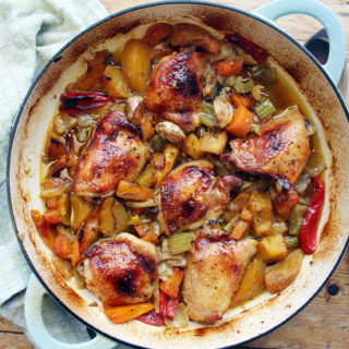 sticky paprika, chicken thigh and pumpkin casserole