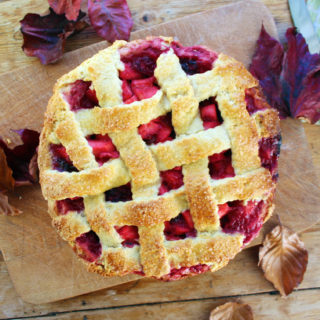 apple, pernod and blackberry pie with cream cheese shortcrust pastry