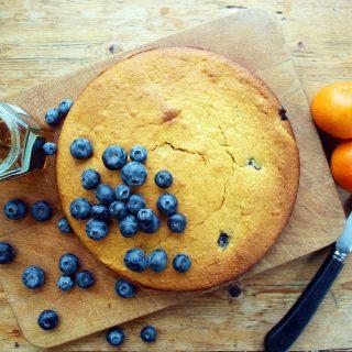 orange, honey and blueberry yoghurt cake
