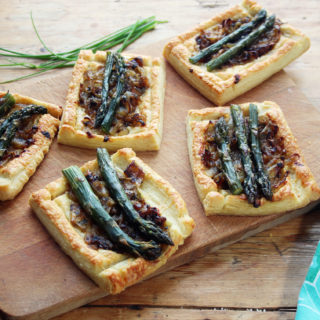 asparagus, caramelised onion and cheddar tarts