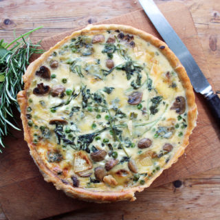 pea, mushroom and watercress quiche with cambozola