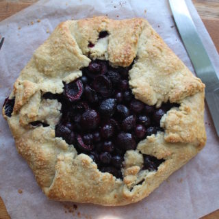 black cherry and blueberry galette