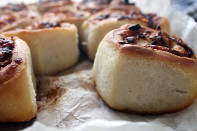 cheese and onion swirl buns