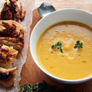 butternut squash soup with cheese and onion swirl buns
